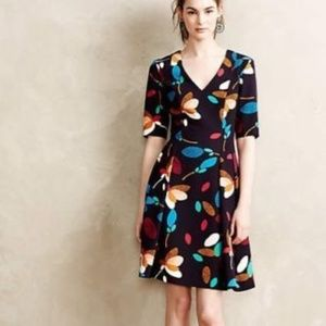 Baraschi 4 Dress Navy Floral Mette Fit Flare Lined